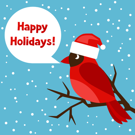 new year celebration: Happy holidays greeting card with bird red cardinal.