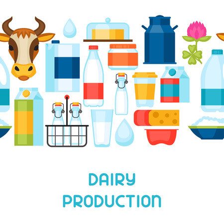 milk products: Milk seamless pattern with dairy products and objects.