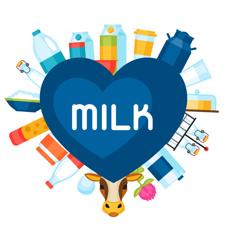 dairy products: Milk background with dairy products and objects.