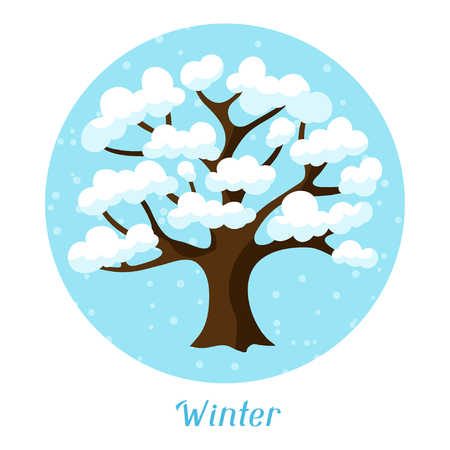 winter tree: Winter background design with abstract stylized tree.