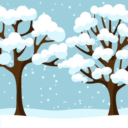 snow white: Winter background design with abstract stylized trees. Illustration