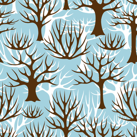 Winter seamless pattern with abstract stylized trees.