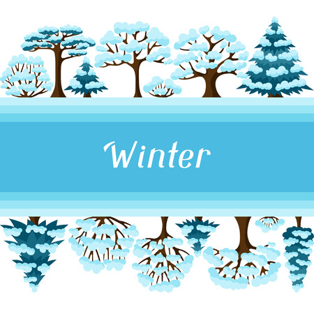 Winter background design with abstract stylized trees. Illustration