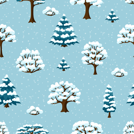 winter stylized: Winter seamless pattern with abstract stylized trees.
