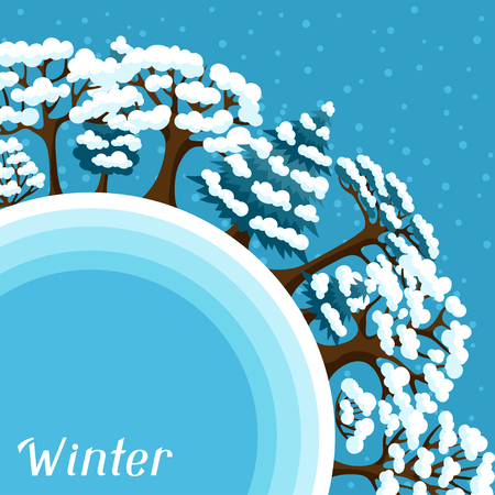 winter stylized: Winter background design with abstract stylized trees. Illustration