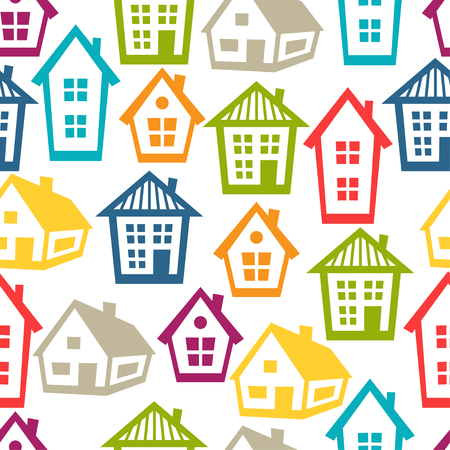 town houses: Town seamless pattern with cottages and houses. Illustration