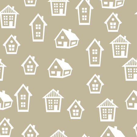 rural house: Town seamless pattern with cottages and houses. Illustration