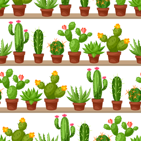 cactus desert: Seamless pattern of abstract cactuses in flower pot on shelves.