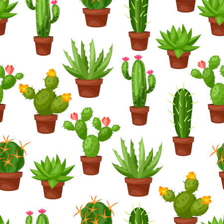 Seamless pattern of abstract cactuses in flower pot.