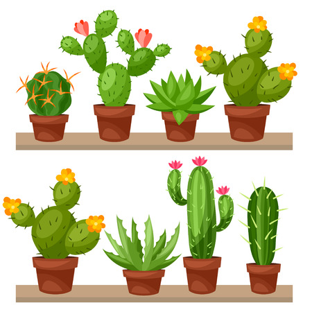 Collection of abstract cactuses in flower pot on shelves.
