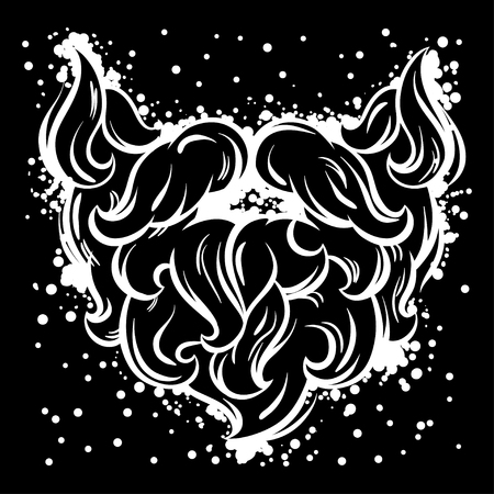 black head and moustache: Hipster mustache and beard in line art style. Illustration