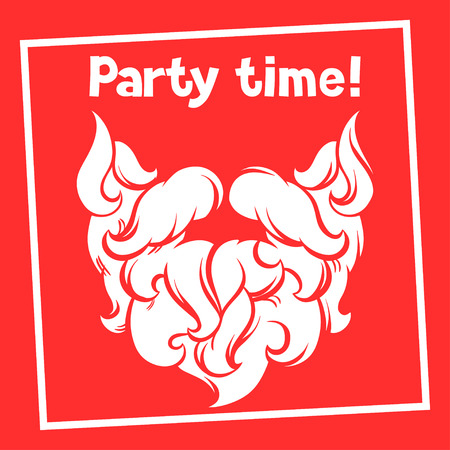 party time: Party time background with Santa mustache and beard.