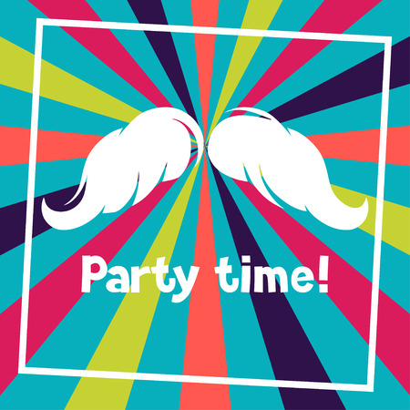 party time: Party time background with hand draw hipster mustache.
