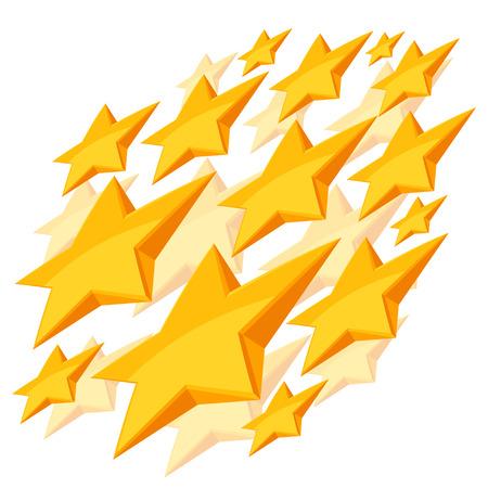 shiny background: Shiny golden stars falling on white background.