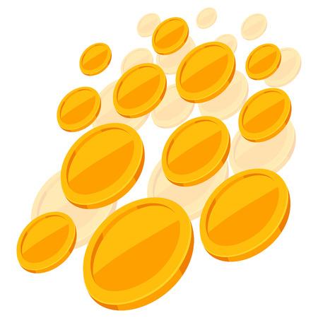 shiny background: Shiny golden coins falling on white background.