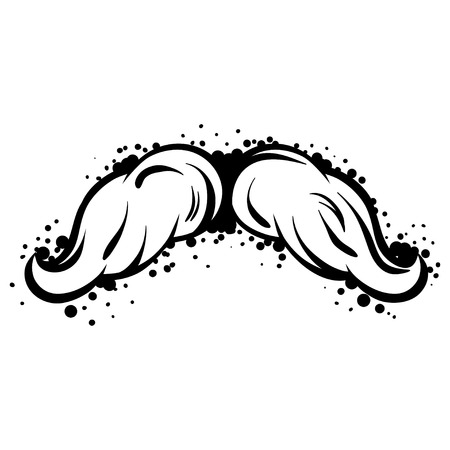 black head and moustache: Hipster black mustache in line art style.