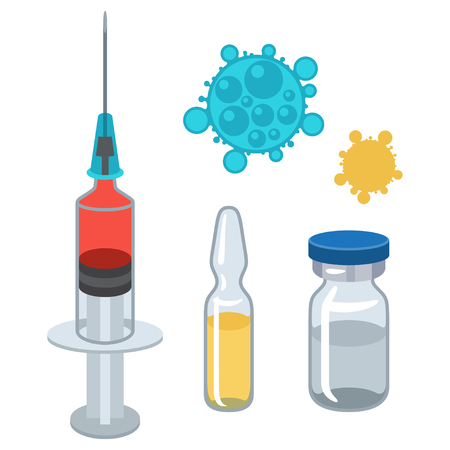 Syringe and vaccine set of medical tools for vaccination. Stock Illustratie