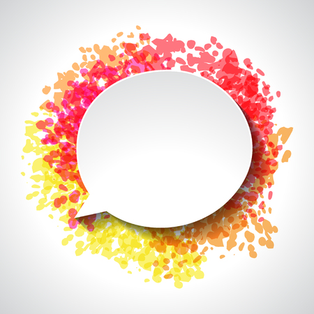 speech bubble: Abstract white paper speech bubble on color grunge background. Illustration