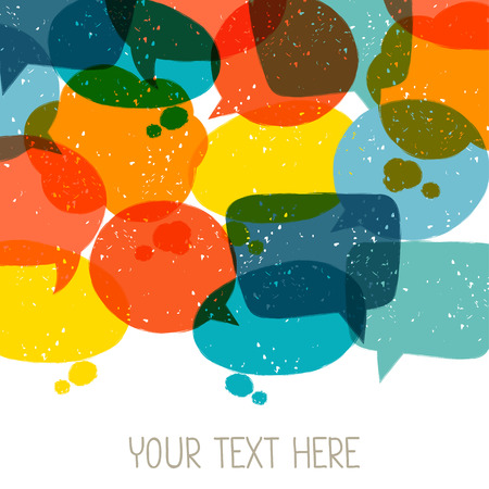 Background with abstract retro grunge speech bubbles. Stock Illustratie