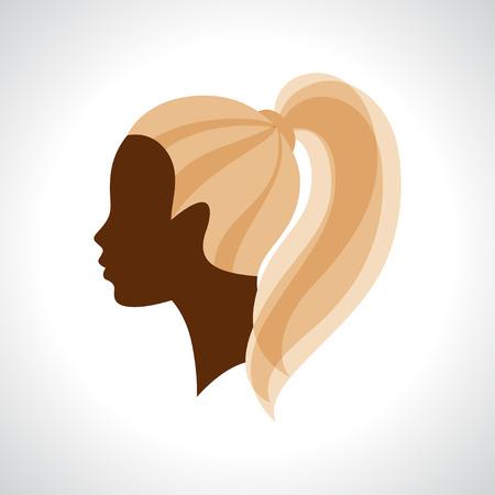 cabeza femenina: Silueta de la mujer concepto emblema de la belleza o peluquería.