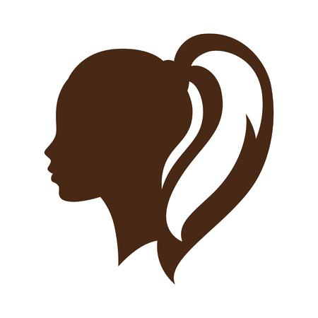 hairdressing salon: Woman silhouette concept emblem of beauty or hairdressing salon.