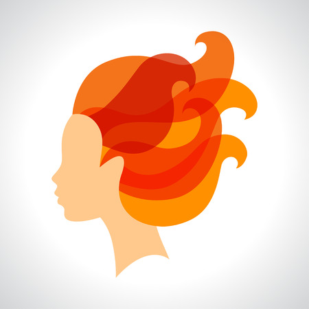 hair design salon: Woman silhouette concept emblem of beauty or hairdressing salon.