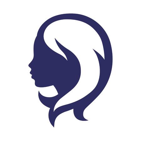 cabello rizado: Silueta de la mujer concepto emblema de la belleza o peluquería.