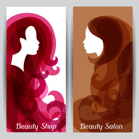 hairdressing salon: Woman silhouette with curly hair on banners for hairdressing salon. Illustration