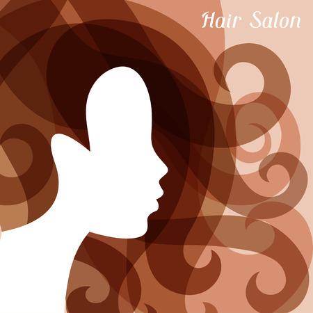 siluetas de mujeres: Silueta de la mujer con el pelo rizado en fundamento para la peluquería. Vectores