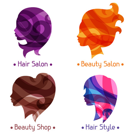 hairdressing salon: Women silhouettes emblems of beauty or hairdressing salon.