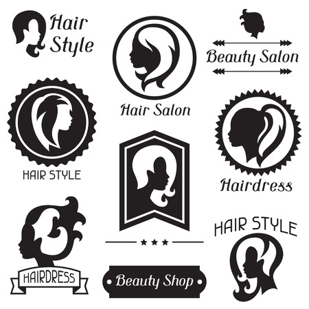 hair style: Set of badges and emblems for beauty or hairdressing salon.