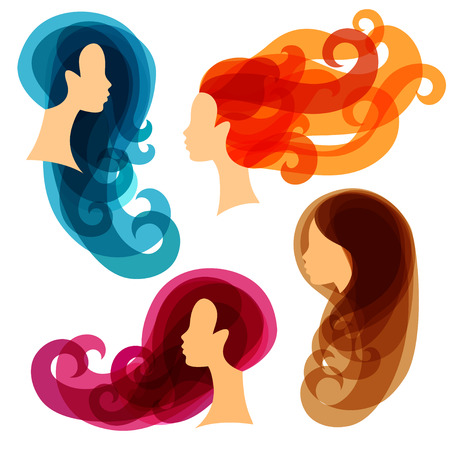 lady silhouette: Women concept silhouettes for beauty or hairdressing salon. Illustration