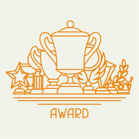 Premios y trofeo deporte o conocimiento de los negocios en el estilo de línea.