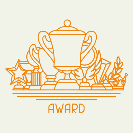 award: Awards and trophy sport or business background in line style.