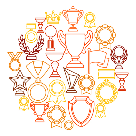 Awards and trophy sport or business line icons background.