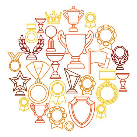 reconocimientos: Premios y trofeo deporte o línea de negocio iconos de fondo. Vectores