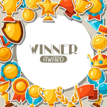 award background: Sport or business award sticker icons background.