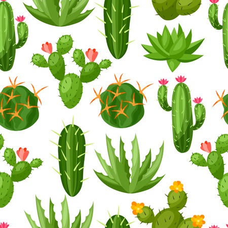 dry flowers: Cactuses and plants abstract natural seamless pattern. Illustration
