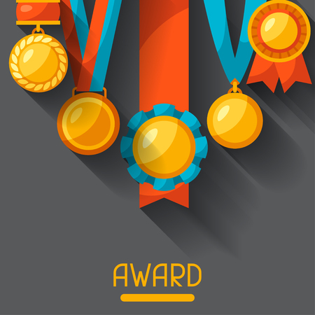 medal: Sport or business background with medal award. Illustration