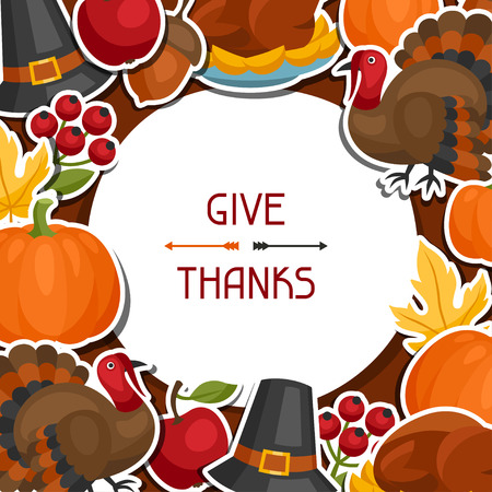 thanksgiving meal: Happy Thanksgiving Day background design with holiday sticker objects. Illustration
