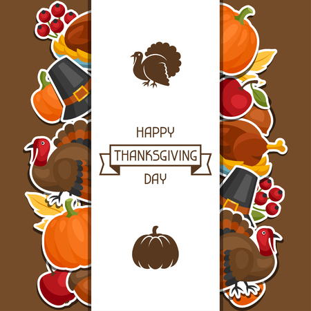 border designs: Happy Thanksgiving Day background design with holiday sticker objects. Illustration