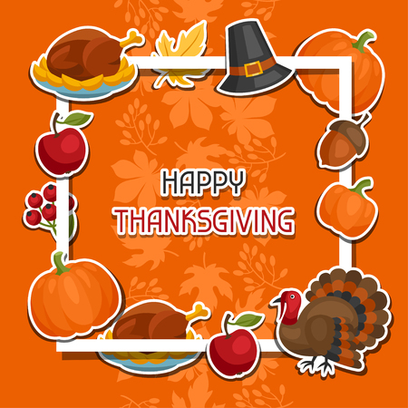 apple border: Happy Thanksgiving Day background design with holiday sticker objects. Illustration