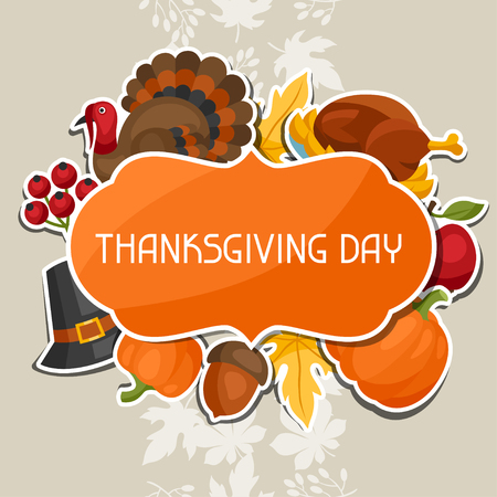turkey bird: Happy Thanksgiving Day background design with holiday sticker objects. Illustration
