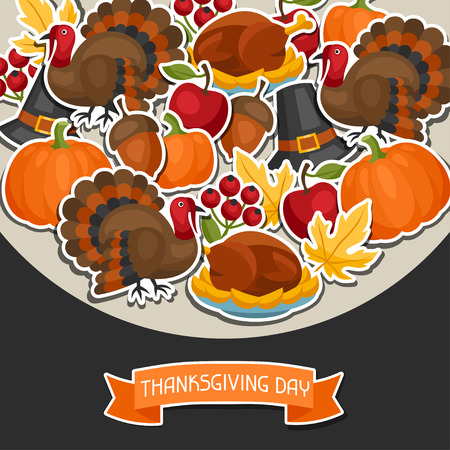 fun day: Happy Thanksgiving Day background design with holiday sticker objects. Illustration