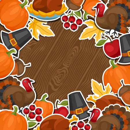 holiday background: Happy Thanksgiving Day background design with holiday sticker objects. Illustration