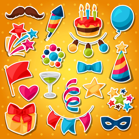 celebration party: Carnival show and party set of celebration stickers.