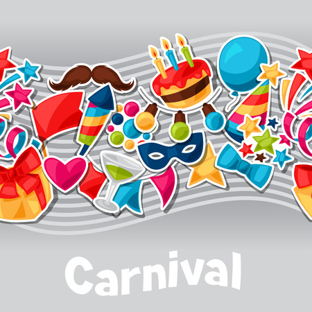 celebration party: Carnival show and party seamless pattern with celebration stickers. Illustration