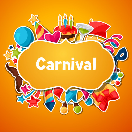 celebration party: Carnival show and party greeting card with celebration stickers. Illustration
