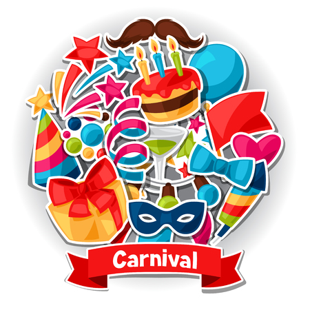congratulation card: Carnival show and party greeting card with celebration stickers. Illustration