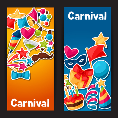 celebration party: Carnival show and party banners with celebration stickers.